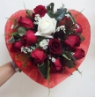 11 Red and 1 White Chinese Roses in Fabric Heart - Round Bouquet