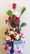 12 Fresh Chinese Roses with 12 Chocolates - Christmas Basket