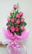12 Fresh Pink Chinese Roses - Tall Bouquet (XXL)