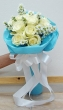 12 Fresh White Thai Roses - Round Bouquet (S)