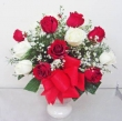 15 Fresh Red and White Chinese Roses with Greens in Vase