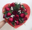 15 Red Chinese Roses in Fabric Heart - Round Bouquet