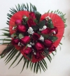 15 Red Chinese Roses in Fabric Heart - Round Bouquet B