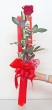 1 Fresh Glittered Red Chinese Rose - Tall Bouquet (S)