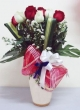 21 Fresh Red and White Chinese Roses with Greens in Vase