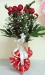 21 Fresh Red Chinese Roses with Greens in Vase
