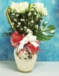 21 Fresh White Chinese Roses with Greens in Vase