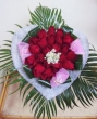 21 Red Chinese Roses in Fabric Heart - Round Bouquet B