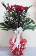 24 Fresh Red Chinese Roses with Greens in Vase