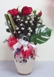 24 Fresh Red and White Chinese Roses with Greens in Vase