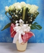 24 Fresh White Chinese Roses with Greens in Vase