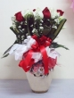 35 Fresh Red and White Chinese Roses with Greens in Vase
