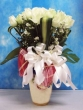 35 Fresh White Chinese Roses with Greens in Vase