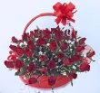 50 Fresh Red Thai Roses - Basket (XXXL)