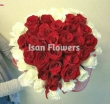 51 Red and White Chinese Roses - Heart Bouquet