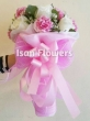 8 White Chinese Roses and 7 Pink Carnations - Round Bouquet