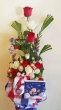 9 Fresh Chinese Roses with 9 Chocolates - Christmas Basket