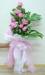 9 Fresh Pink Chinese Roses - Tall Bouquet (XL)