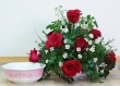 9 Fresh Red Chinese Roses in Bowl (M)