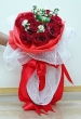 9 Fresh Red Chinese Roses - Round Bouquet (XL)
