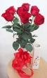 9 Fresh Red Chinese Roses in Vase (XL)