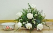 9 Fresh White Chinese Roses in Bowl (M)