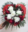 9 Red and 5 White Chinese Roses in Fabric Heart - Round Bouquet