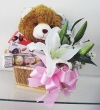 Chocolate Gift Basket with Lily and Soft Toy (S)