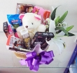Chocolate Gift Basket with Lily and Soft Toy (L)