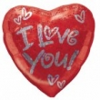 Floating Foil Balloon - I Love You Heart with Silver (L)