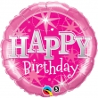 Floating Foil Balloon - Pink Happy Birthday (L)