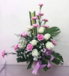 Fresh Pink Carnations and White Chinese Roses in Vase