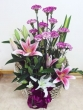 Fresh Purple Carnations with Lilies - Basket (L)