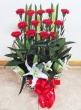 Fresh Red Carnations and white Lilies - Basket (L)