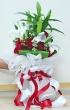 Fresh Red Roses and White Lilies - Round Bouquet (XL)