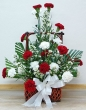 Fresh Red and White Carnations Basket (L)
