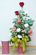 Fresh White Carnations & Multicolour Chinese Roses in Vase (L)