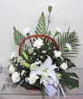 Fresh White Carnations and Lily Basket