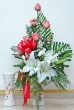 Fresh White Chinese Lilies and Pink Roses in Vase (L)