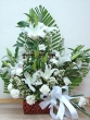 Fresh White Lilies and Carnations Basket (XL)