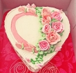 Heart-shaped Pink and White Cake with Roses (M)