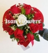 XX Red and White Chinese Roses in Paper Heart - Round Bouquet