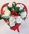 XX White and Red Chinese Roses in Paper Heart - Round Bouquet