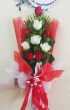 XX (9-24) Fresh Red and White Chinese Roses - Tall Bouquet