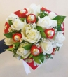 XX (9-12) White Chinese Roses with XX Red-wrapped Chocolates