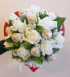 XX (9-12) White Chinese Roses with XX White-wrapped Chocolates