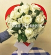 XX (9-15) White Chinese Roses in Paper Heart - Round Bouquet