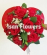 XX (9-15)  Red Chinese Roses in Paper Heart - Round Bouquet
